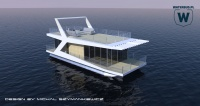 White Modern Houseboat - conceptual design in preparation